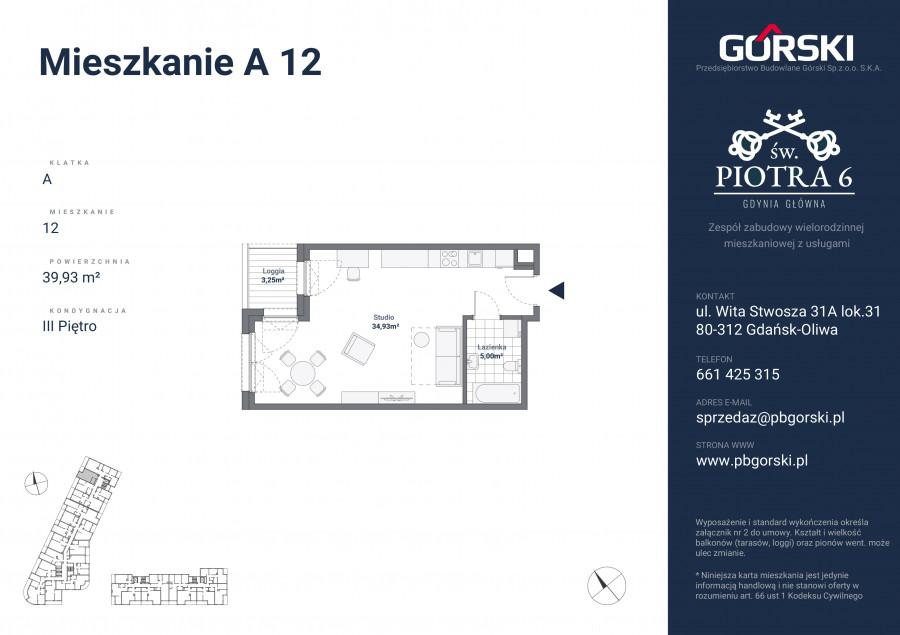 mieszkanie A12 Św. Piotra 39.00m2