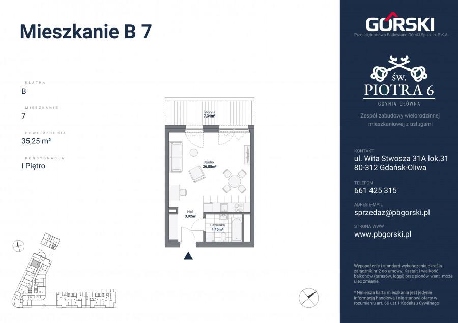 mieszkanie B7 Św. Piotra 35.00m2