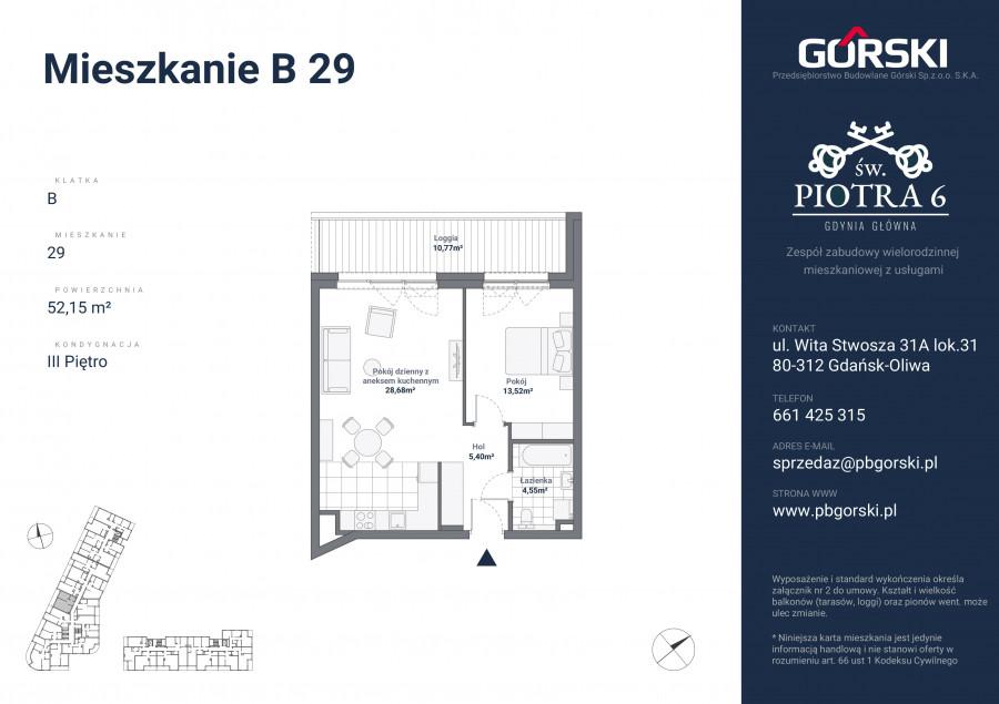 mieszkanie B29 Św. Piotra 52.00m2