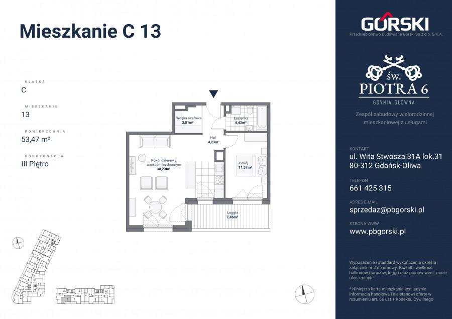 mieszkanie C13 Św. Piotra 53.00m2