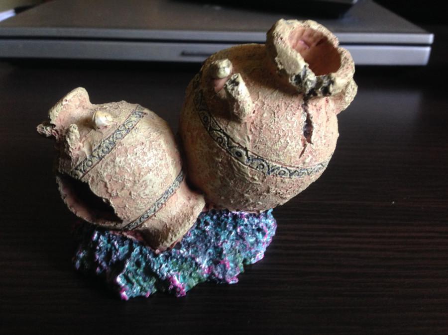 Ozdoby do akwarium amfory i 3 roślinki sztuczne: zdjęcie 87366597