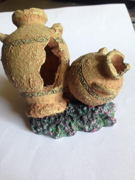 Ozdoby do akwarium amfory i 3 roślinki sztuczne: zdjęcie 87366600