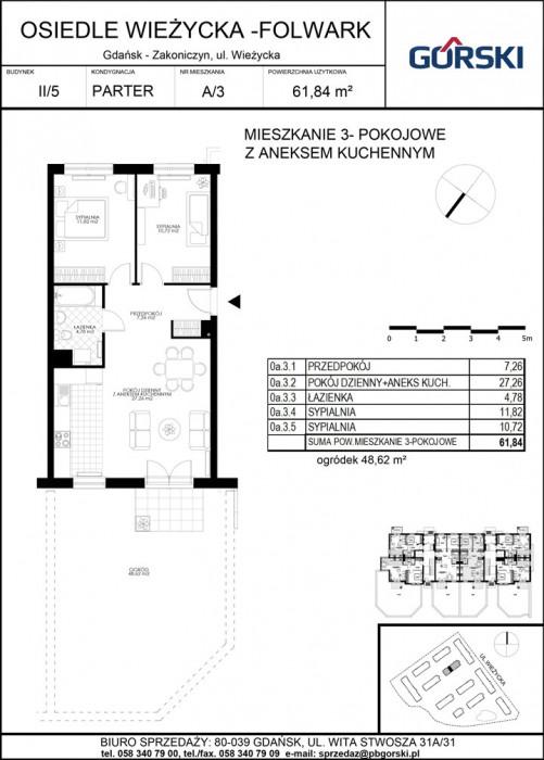 mieszkanie A3 Wieżycka Folwark 61.95m2