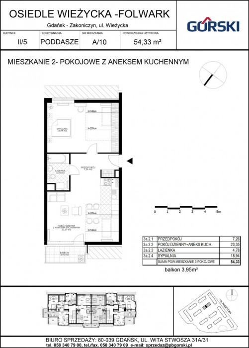 mieszkanie A10 Wieżycka Folwark 53.88m2