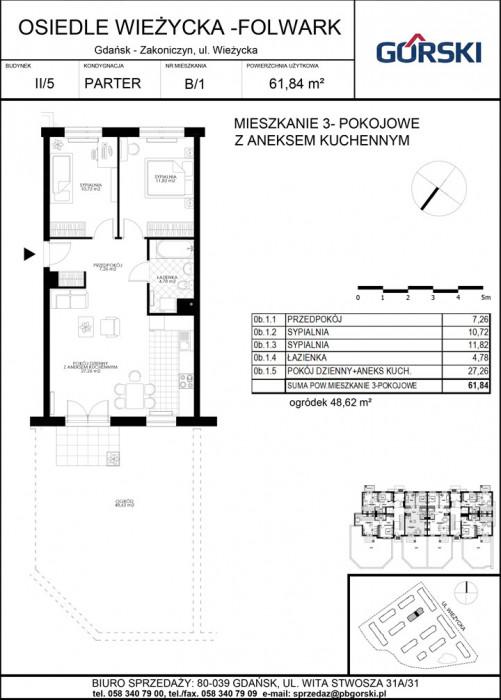 mieszkanie B1 Wieżycka Folwark 61.95m2