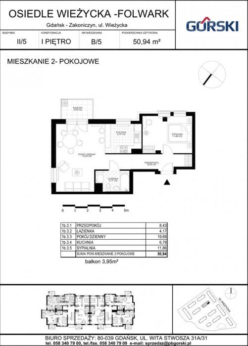 mieszkanie B5 Wieżycka Folwark 51.29m2