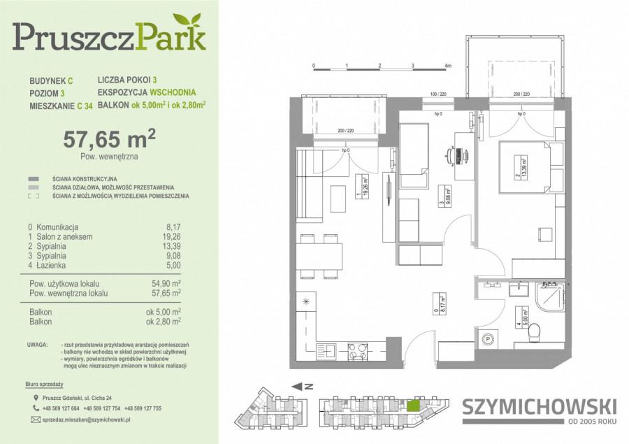 PruszczPark 3.C.34 mieszkanie 3pok na III piętrze z dwoma balkonami: zdjęcie 86977294