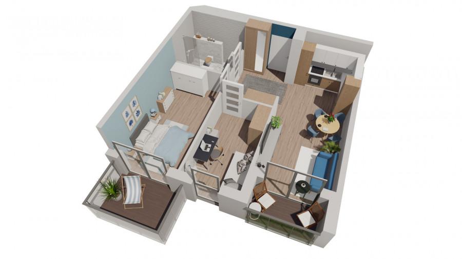 PruszczPark 3.C.34 mieszkanie 3pok na III piętrze z dwoma balkonami