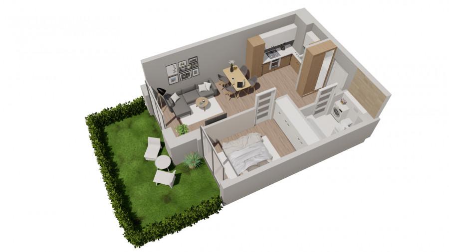Pruszcz Park 0.B.12 - mieszkanie 2-pok. na parterze z ogródkiem