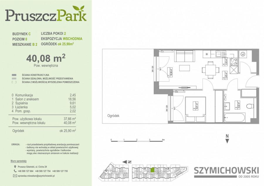 Pruszcz Park 0.B.2- mieszkanie 2-pok. na parterze z ogródkiem: zdjęcie 86978420