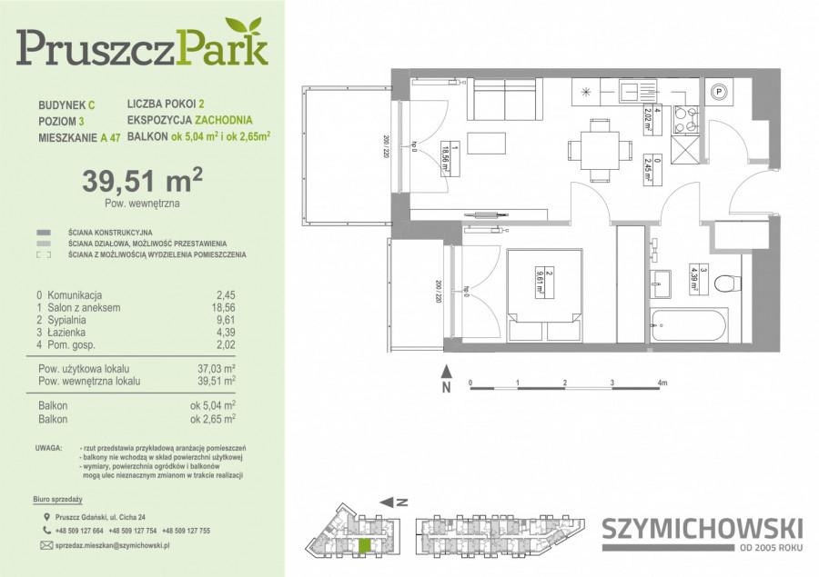 Pruszcz Park 3.A.47 mieszkanie 2-pok na III piętrze: zdjęcie 86978444