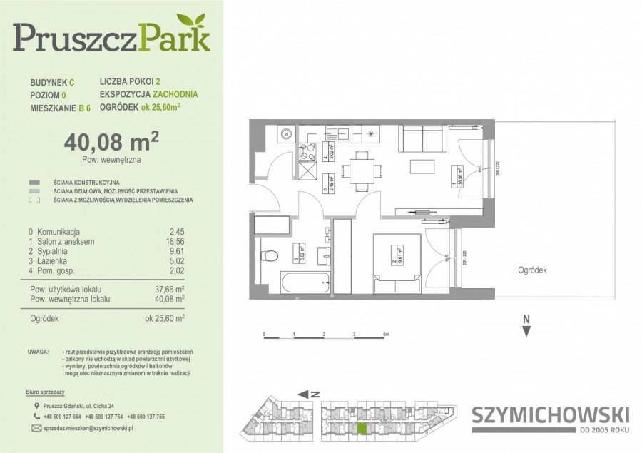 Pruszcz Park 0.B.6 - mieszkanie 2-pok. na parterze z ogródkiem: zdjęcie 86978474