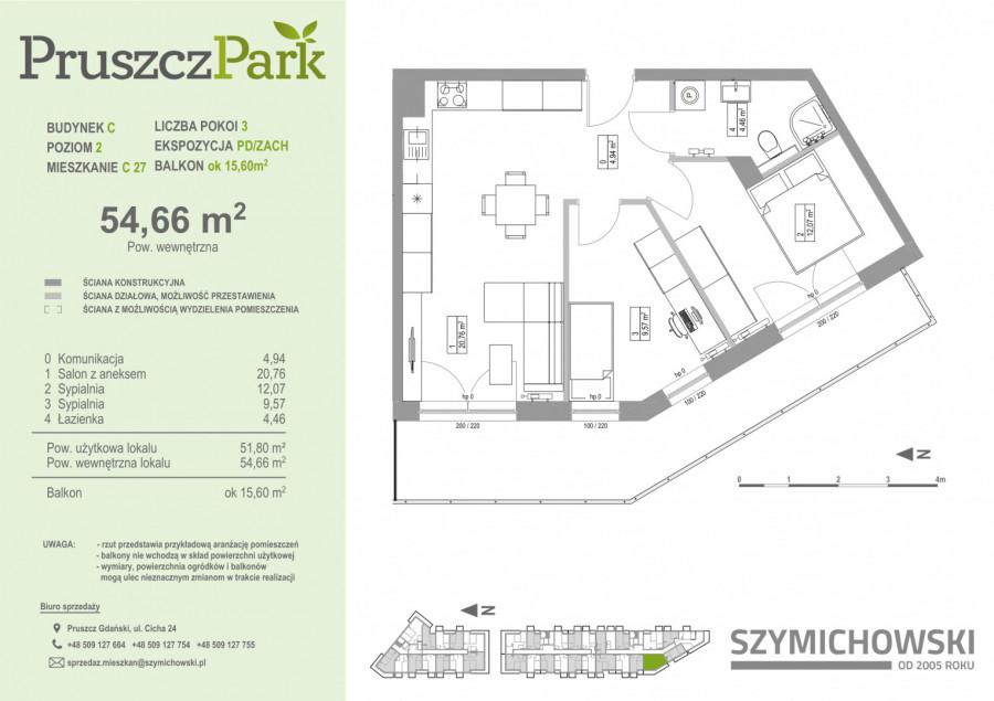 Pruszcz Park 2.C.27- mieszkanie 3pok na II piętrze: zdjęcie 86989861