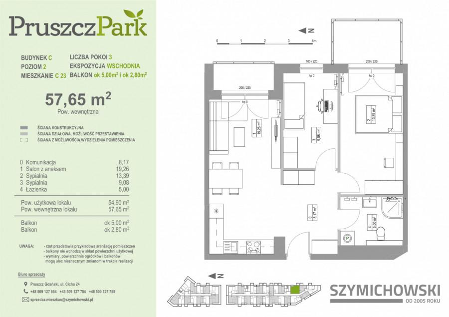 Pruszcz Park 2.C.23- mieszkanie 3pok na II piętrze: zdjęcie 86992330