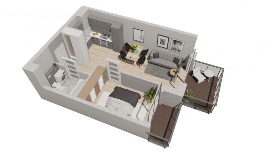 Pruszcz Park 1.B.15 - mieszkanie 2-pokojowe z dwoma balkonami: zdjęcie 87251437