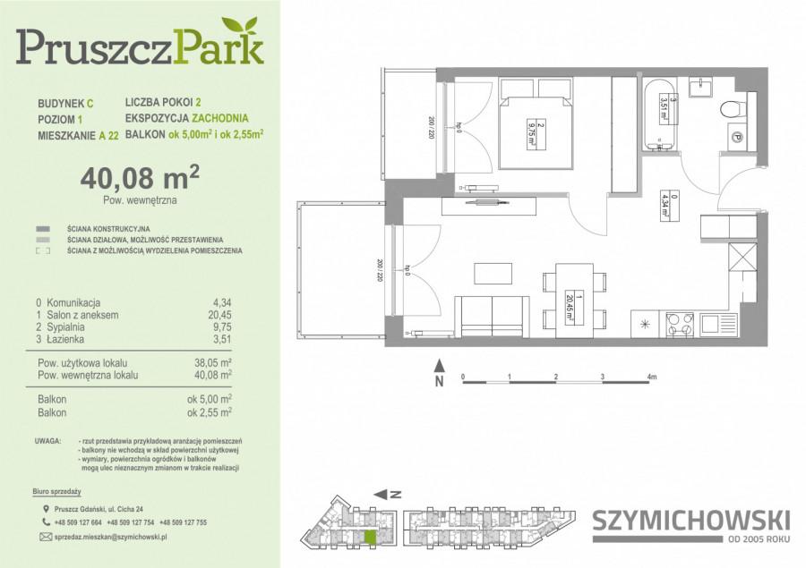 Pruszcz Park 1.B.15 - mieszkanie 2-pokojowe z dwoma balkonami: zdjęcie 87251438