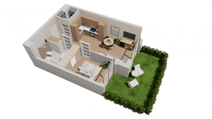 Pruszcz Park 0.B.1 - mieszkanie 2-pokojowe z ogródkiem na parterze: zdjęcie 87251682