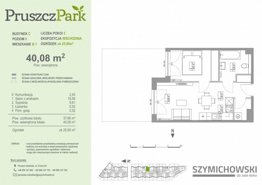 Pruszcz Park 0.B.1 - mieszkanie 2-pokojowe z ogródkiem na parterze: zdjęcie 87251683
