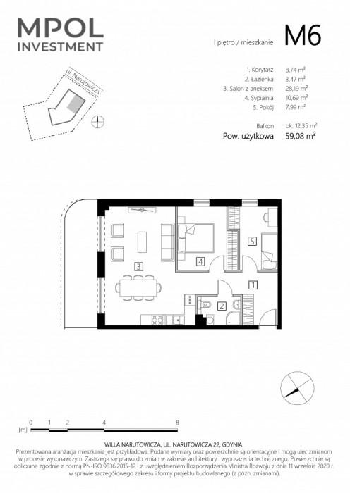Willa Narutowicza M6 - 3 pokoje z dużym balkonem: zdjęcie 87410557