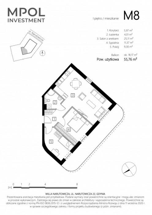 Willa Narutowicza M8 - 3 słoneczne pokoje z dużym balkonem: zdjęcie 87410614