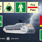 znaki morskie zgodne z: Normą ISO 17631, IMO Rezolucją A.654(16),  IMO Rezolucją A.760(18) i in.