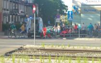 Wypadek z udziałem rowerzysty we Wrzeszczu