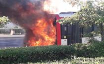 Pożar autobusu miejskiego na Chełmie