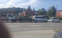 Kolizja czterech aut na Podwalu Grodzkim