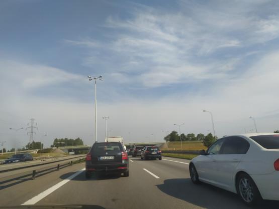 Korek w stronę Gdyni przed węzłem Lotnisko