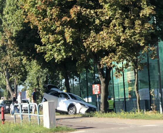 Samochód zatrzymał się prawie na drzewie