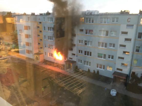 Pożar mieszkania na Wejhera 13 na Żabiance
