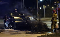 Pożar auta w Gdyni. BMW E60.