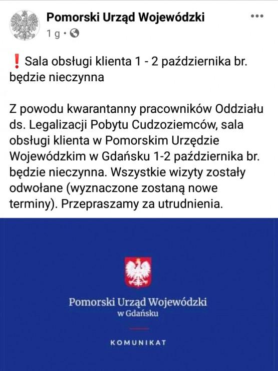 Koronawirus w Pomorskim Urzędzie Wojewódzkim