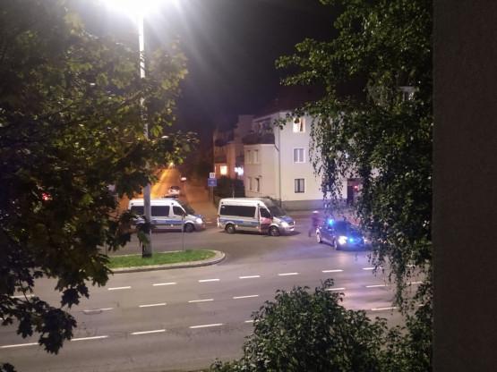 Policja blokuje Grunwaldzką w Oliwie w kierunku Gdańska