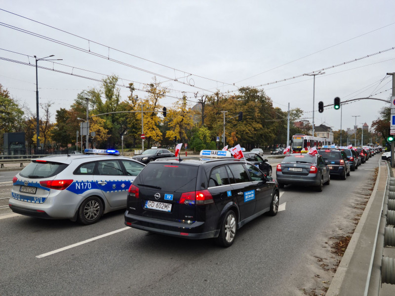Protest taksówkarzy na zdjęciach