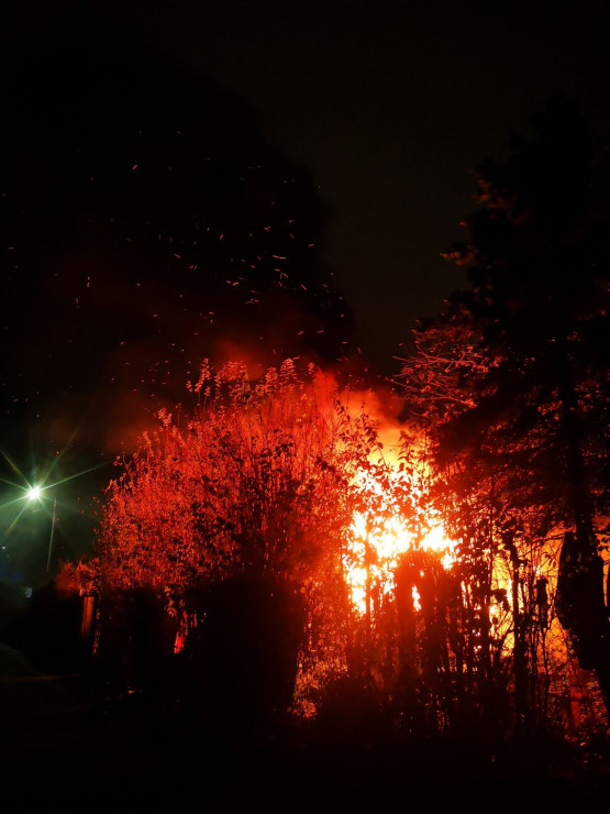 Pożar baraków na Stogach