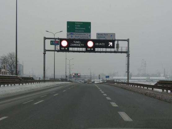 Zamknięty tunel w stronę Obwodnicy Południowej