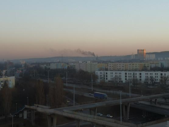 Dym widoczny na Zaspie