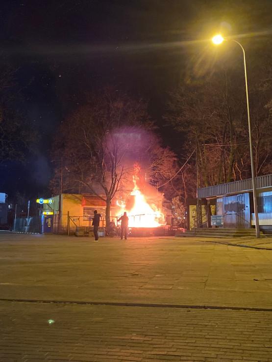 Pożar przy pętli autobusowej w Oliwie