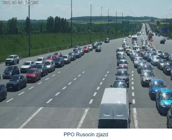 Korki na bramkach A1 w Rusocinie w kier. Gdańska