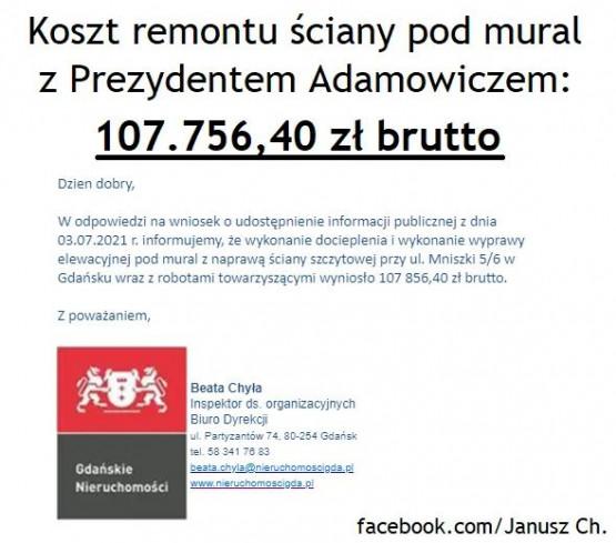 Mural Adamowicza za ponad 100 tys. zł