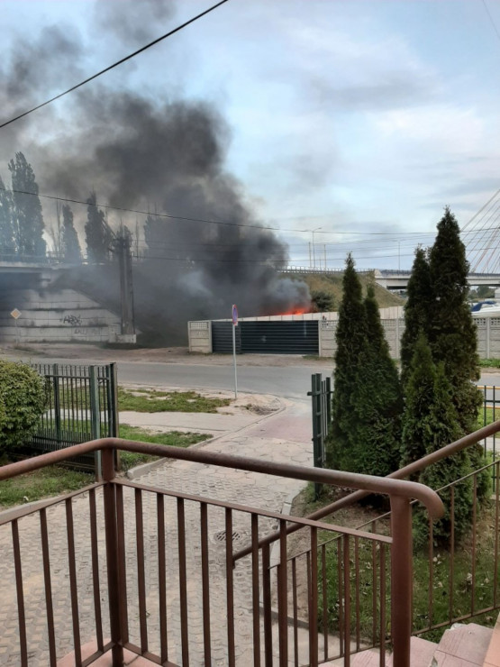 Pożar przy moście wantowym na Przeróbce