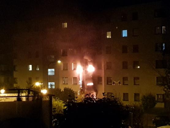 Pożar wiaty śmietnikowej - Morena