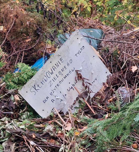 Składowisko odpadów na terenie ogródków działkowych