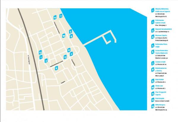 Zobacz mapkę wszystkich wydarzeń artystycznych Festiwalu Literacki Sopot.