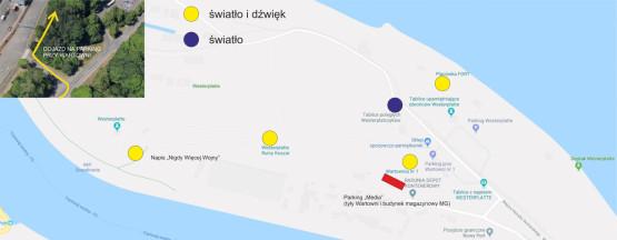 Mapka miejsc, które zostaną podświetlone podczas spektaklu