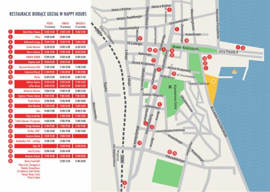 Mapa XI Weekendu Kulinarnego i godziny Happy Hours.