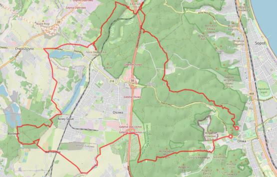 35 km trasa wieść będzie przez lasy, pola i jeziora w okolicach Trójmiejskiego Parku Krajobrazowego