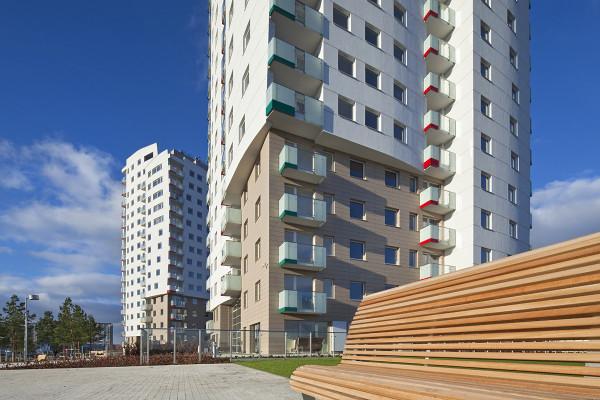 Pierwsze dwa, ukończone w 2012 roku, budynki osiedla.