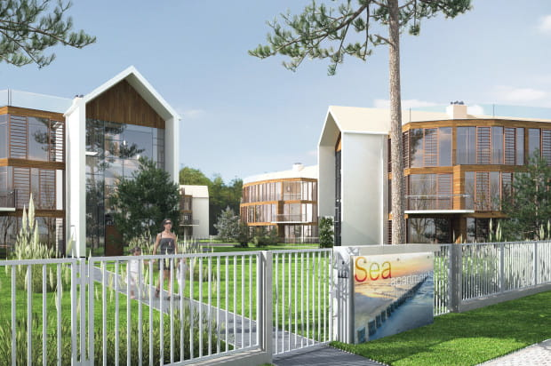 Ogromne przeszklenia pozwolą przyszłym mieszkańcom cieszyć się nadmorskim klimatem widokami.